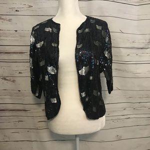Sequin evening jacket with design